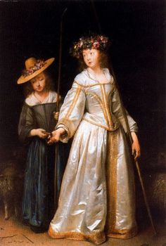 Gerard ter Borch the Younger, The Artist's Sisters, Gesilda And Catharina, Dressed As Shepherdess  mid-17th century; child in white and gold satin dress