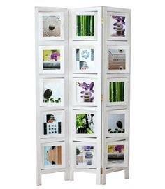 3 fach Paravent Raumteiler Holz Trennwand in weiß whitewash Foto Fotowand White Photo Frames, Picture Frames, Wooden Screen, Decorative Screens, Hanging Photos, Panel, Bookcase, Divider, Sweet Home
