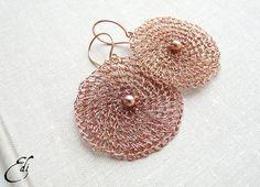 Pendientes de Crochet de alambre de cobre. Pendientes por editos