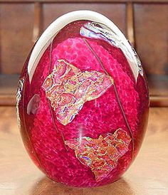 Signed KAHLEN Red Dichroic Egg Art Glass Paperweight