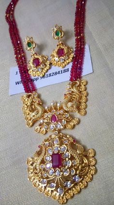 BACK IN STOCK Price Real gold look . Beautiful one gram gold long haaram with pink color beads. 29 October 2018 Source by shailcha 1 Gram Gold Jewellery, Gold Jewellery Design, Bead Jewellery, Beaded Jewelry, Handmade Jewellery, Pearl Jewelry, Antique Jewelry, Jewelry Necklaces, Gold Earrings Designs