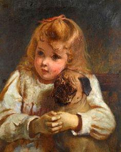 """""""Concern"""" or """"Girl With A Pug"""" -- Charles Burton Barber (1845 – 1894, English)"""