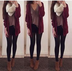 Maroon cardigan, loose shirt, black leggings, brown ankle boots, scarf… fall o… - Boots Cute Fall Outfits, Fall Winter Outfits, Outfits For Teens, Casual Outfits, Fashion Outfits, Womens Fashion, School Outfits, Fashion Styles, Summer Outfits