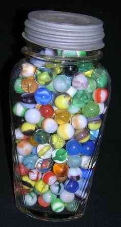 Vintage Marbles in Vintage Jar. $25.00, via Etsy.