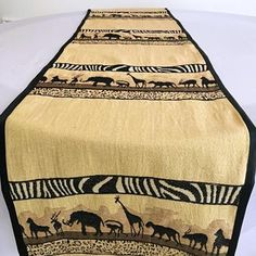 Bring a little bit of Africa to your interior with these African safari theme table runners. Made from high-quality kuba cloth. The heavyweight material provides beautiful safari accent definition for your design while also being the perfect comp. African Home Decor, Printed Curtains, Safari Theme, Great Housewarming Gifts, Womens Size Chart, African Safari, Event Decor, Table Runners, House Warming