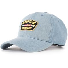 The Strip Club Veteran Dad Hat in Denim ($28) ❤ liked on Polyvore featuring men's fashion, men's accessories, men's hats, blue and mens denim hats