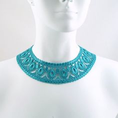 Turquoise Collar Choker Necklace  Fun & Colourful Lace by Arthlin, $19.00