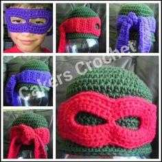 Ninja Turtle Hat w/ detachable mask by Cakers Crochet  #crochet www.facebook.com/cakerscrochetsa