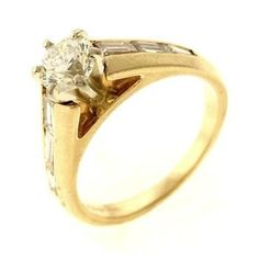 1.09ctw Round Brilliant and Baguette Cut Diamond Ring 14K Two-Tone Gold http://www.propertyroom.com/listing.aspx?l=9626455