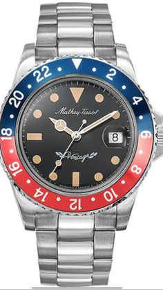 Mathey-Tissot Mathey Vintage Automatic Blue and Red Pepsi Bezel 40 mm Men's Watch Sport Watches, Watches For Men, 3 O Clock, Automatic Watch, Stainless Steel Case, Rolex Watches, Blue, Accessories, Vintage