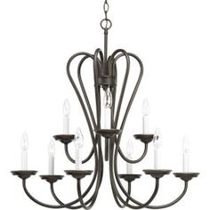Progress Lighting Heart Collection Antique Bronze 9-Light Chandelier-P4669-20 at The Home Depot