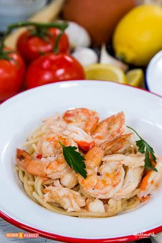 Reel in the recipe for this outstanding Crab & Shrimp Scampi! Tune in to #homeandfamily weekdays at 10/9c on Hallmark Channel!