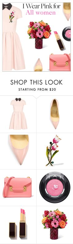 """""""I Wear Pink for..."""" by danielle-487 ❤ liked on Polyvore featuring Miu Miu, Christian Louboutin, Dolce&Gabbana, Sophie Hulme, Lancôme and IWearPinkFor"""