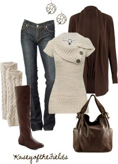 Fall Knits --- Jeans, brown cardigan, oatmeal colored leg warmers and sweater with an asymmetrical neckline. Dark brown boots and bag. Casual Mode, Look Casual, Look Chic, Casual Fall, Fashion Moda, Look Fashion, Womens Fashion, Fall Fashion, Fashion Clothes