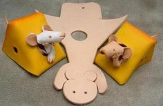 レザーマウス leather mice in cheese - cute!
