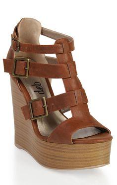 Deb Shops platform #wedge with buckled straps