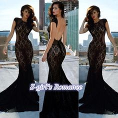 black lace mermaid prom dress, elegant with sexy, backless design!