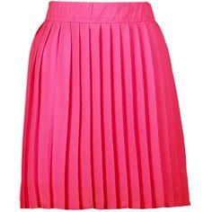 Boohoo Cate Chiffon Pleated Full Mini Skirt (32 CAD) ❤ liked on Polyvore featuring skirts, mini skirts, short mini skirts, maxi skirt, pink maxi skirt, pink pleated skirt and pleated maxi skirt