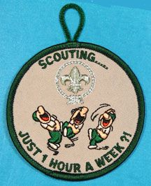 Please take 1 minute to share this great product with your friends. After you share this, we will provide you a code to take 5% off your next order. Scouting Just One Hour a Week Patch Green Border - Funny Merit Badge