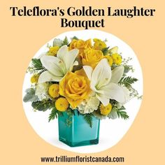 Inspired by the sunny sound of children's laughter, this lighthearted bouquet of golden roses and fragrant white lilies is presented in a stunning aqua cube vase. What a stylish way to make someone smile! Fast Flowers, Summer Flowers, Golden Roses, White Lilies, Flower Delivery, Cube, Laughter, Aqua, Bouquet