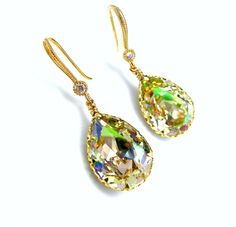 luminous green teardrop crystal rhinestone