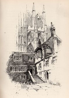 Herbert Railton Landscape Drawings, Architecture Drawings, Ink Pen Drawings, Drawing Sketches, Ink Illustrations, Urban Sketching, Land Art, Line Drawing, Les Oeuvres