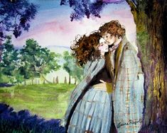 By artist Laura Rispoli - Watercolor painting of Jamie & Claire / Outlander Outlander Fan Art, Outlander Quotes, Outlander Series, Watercolor Illustration, Watercolor Paintings, Watercolors, Samheughan, Jamie And Claire, Caitriona Balfe