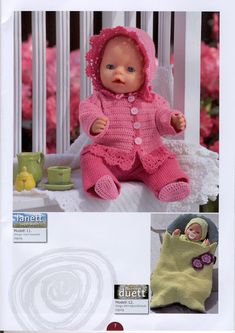 Album Archive - Dukketøj til Baby Born 2 - Ingelise Knitted Doll Patterns, Knitted Dolls, Baby Knitting Patterns, Knitting Dolls Clothes, Doll Clothes Patterns, Baby Born Clothes, Doll Costume, Album, Stuffed Toys Patterns