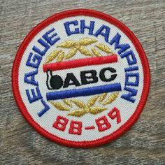 League Champion ABC 88-89 Patch, Vintage Patch, Iron On Patch, ABC, League Champion, ABC Bowling, Bowling, Vintage Bowling, 1980s, Vhis Team by AddisonsAtticAZ on Etsy