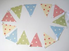 Spotty Oilcloth Bunting Cottage Chic Garden by OneLeggedGoose Garden Bunting, Oilcloth, Thing 1 Thing 2, Cottage Chic, White Cotton, Kids Bedroom, Playroom, Flag, Gardening