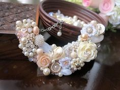 Vignette Collections - Mint :: Vintage Handmade Necklace :: Handmade necklace shimmers in peach and ivory, very sweet and classic!