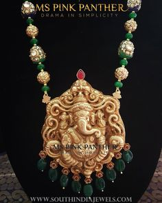 Gold Plated Temple Mala From Ms Pink Panthers ~ South India Jewels Gold Temple Jewellery, Gold Jewellery Design, India Jewelry, Ganesh Pendant, Gold Jewelry Simple, Beaded Jewelry Designs, Gold Accessories, Emerald Jewelry, Pendant Jewelry