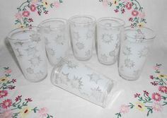 Federal White Satin Frost SNOWFLAKE Beverage Glasses, Decoration #7110, circa 1962 by WeBGlass on Etsy