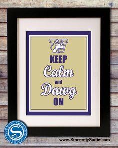"University of Washington Huskies ""Keep Calm and Dawg On"" 8x10 Print. $9.95, via Etsy."