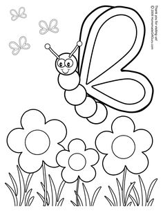 Butterfly With Flowers Coloring Pages | Silly Butterfly Coloring Page - Free Printable Coloring Book Page