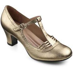 1920s gold heel shoes. France Heels  - Perfect party softness - Bronze Metallic size 9 $64.00 AT vintagedancer.com