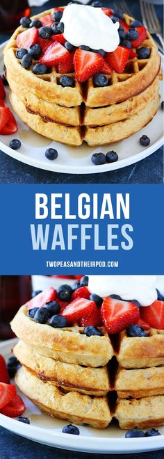 The BEST waffle recipe! These Belgian Waffles are easy to make at home. Serve with strawberries and whipped cream for an extra special breakfast!