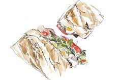 Rachel Khoo: The 'it' baguette - ES Magazine - Life & Style - London Evening Standard Olive Paste, Pan Bagnat, Rachel Khoo, Baguette Bread, Nicoise Salad, Amazing Paintings, Lunch Snacks, How To Squeeze Lemons, Food Illustrations