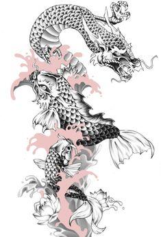 Koi Dragon [Finished] by blackXXraine on DeviantArt Oriental Dragon Tattoo, Blue Dragon Tattoo, Dragon Tattoo Drawing, Celtic Dragon Tattoos, Tribal Dragon Tattoos, Dragons Tattoo, Dragon Sleeve Tattoos, Japanese Dragon Tattoos, Dragon Tattoo Designs