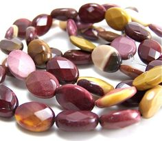 faceted gemstone Moukaite jasper beads 14mm x by RiverSongBeads