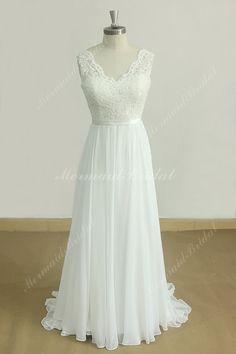 Deep V Neckline Ivory A Line Chiffon Lace wedding dress with scallop open back