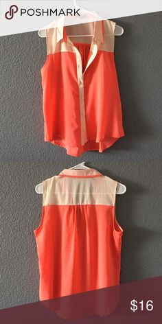 Coral and beige color block blouse Good contain only wore once pearl  Tops Blouses