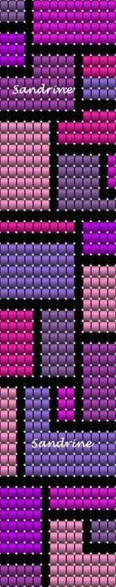 beaded loom bracelet. purples, pink, black.