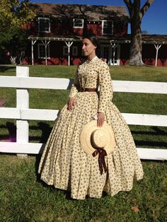 1860's Yellow Cotton Dress. And wonderful hair pix on her blog post