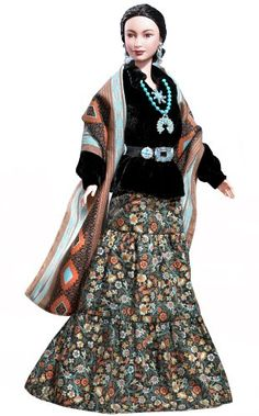 Why can I only find these navajo clothes on a Barbie and not for sale...I know they still wear them I see them on Navajo women and stare....I love the concho belt on black velvet!