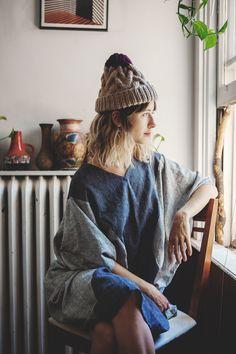 Omemee cabled toque of silk+ alpaca + merino wool, Good Night, Day / photo Arden Wray / model Airin McGuinty / dress Lauren Winter