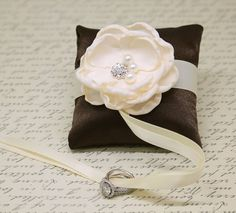 Brown and Ivory Ring Pillow attach to Dog Collar, Ring Bearer, Proposal Idea, Floral Dog Store, Brown Pillows, Ring Pillow, Dog Wedding, Wedding Pillows, Leather Collar, Ribbon Colors, Ring Bearer, Fabric Flowers