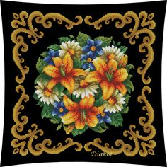 Gallery.ru / Фото #1 - 029 - diakot Cutwork Embroidery, Cross Stitch Embroidery, Cross Stitch Patterns, Embroidery Designs, Cross Stitch Pillow, Vintage Cross Stitches, Flower Canvas, Canvas Designs, Bargello