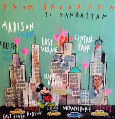 'New York is fun, 2015' by Corinne DALLE ORE - Technique mixte sur toile 120 x 120 cm #NY #Fun #Mickey #City #Cars #Contemporary #Art #Collage #Painting #USA
