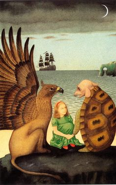 """Illustrator Anthony Browne: The Gryphon and Mock Turtle. """"This scene is from part of the book that seems to have a completely different feel to the rest. The jokes are there in the text, echoed here by the boot-blacked ship and the key-hole shaped opening in the cliff, but there's an air of melancholy in this passage, no doubt stemming from the mock turtle's mood - and I've tried to suggest this by the overall design and the dark, sombre colours."""""""